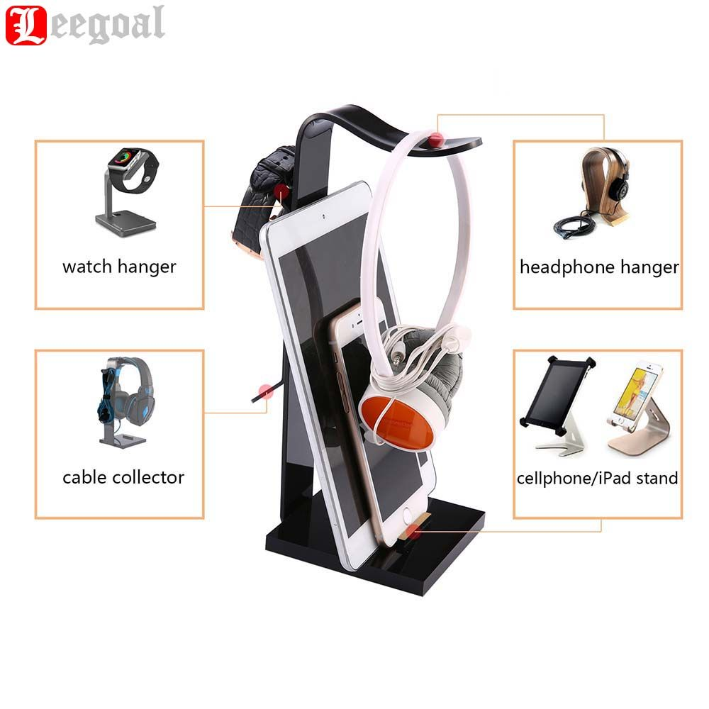 Multifunctional Bracket Acrylic Headphone Headset Earphone Stand Display Holder Hanger for All Headphone/Cellphone/pad/watch