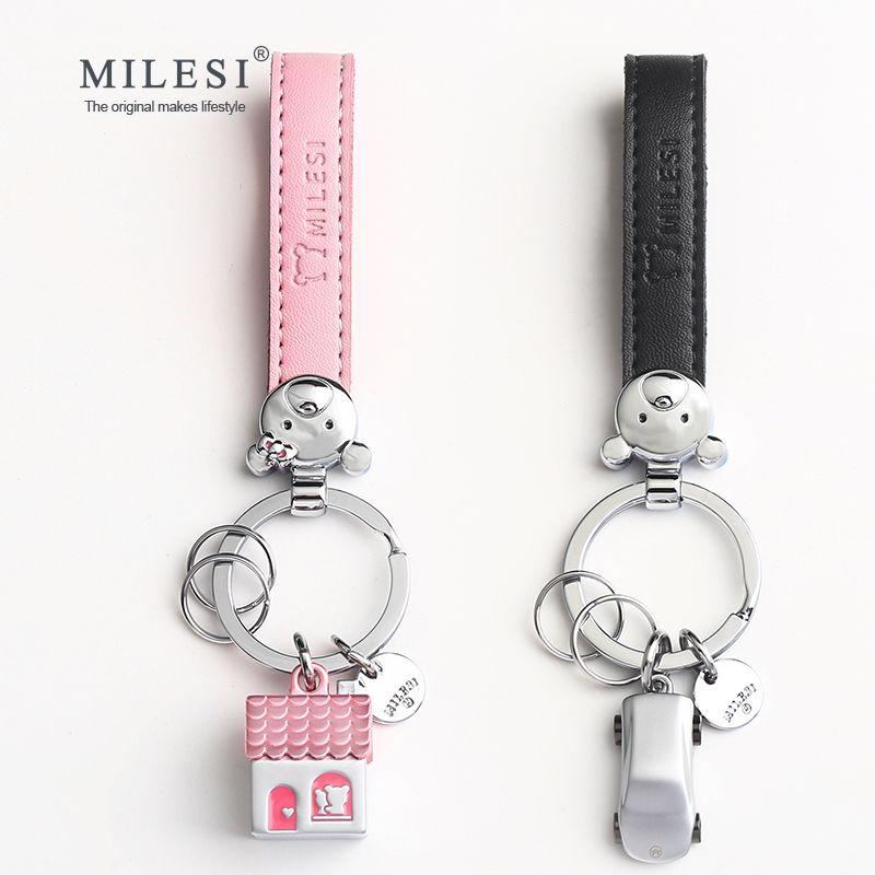 Milesi Pairs Of Key Holder House Car Shaped <font><b>Couple</b></font> Keychain Trinket Creative Keyring Fashion Pendant Gift For Lovers K0209_1