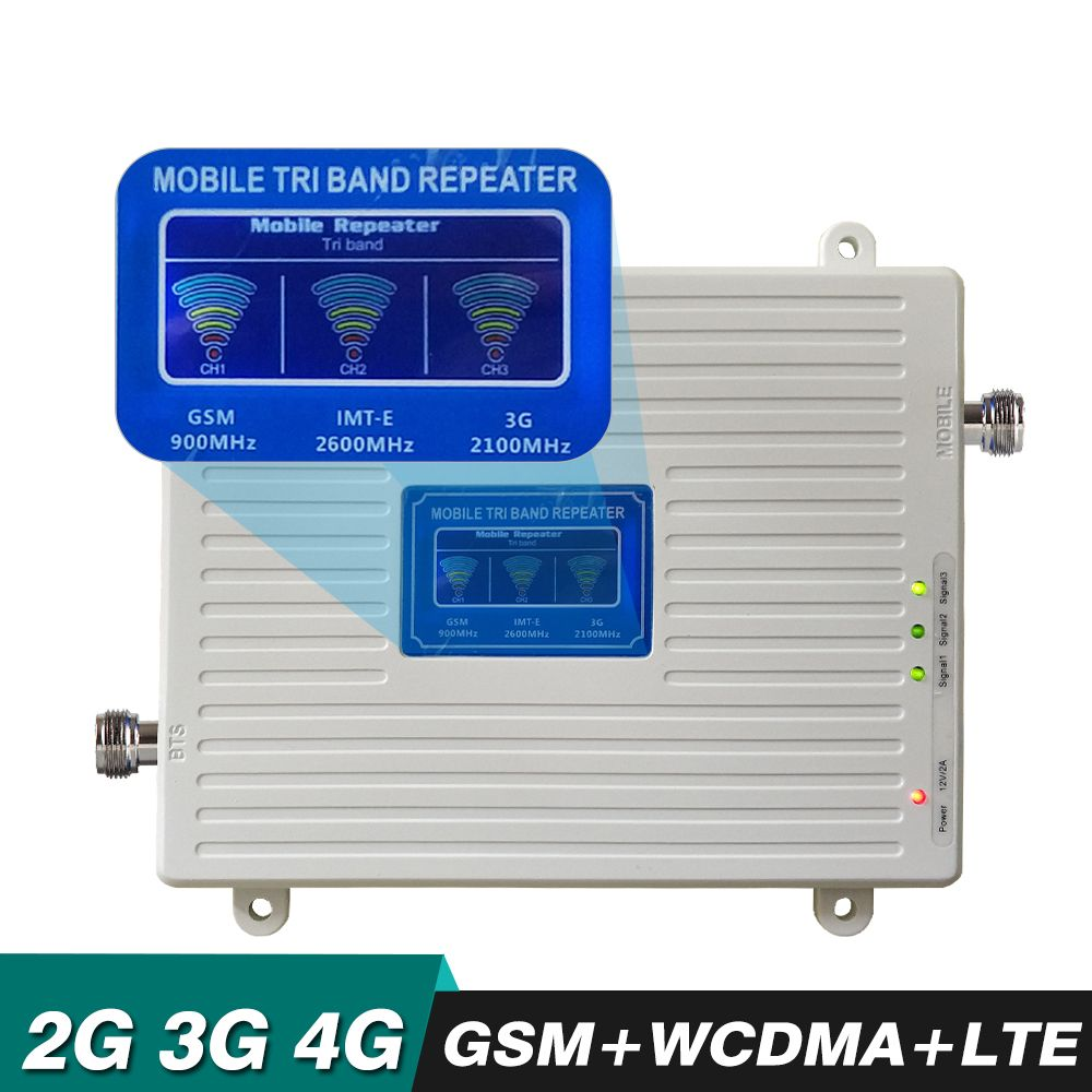 2G 3G 4G Tri Band Booster GSM 900 WCDMA 2100 LTE 2600 Cellular Amplifier Cell Phone Signal Repeater 4G LTE Mobile Signal Booster