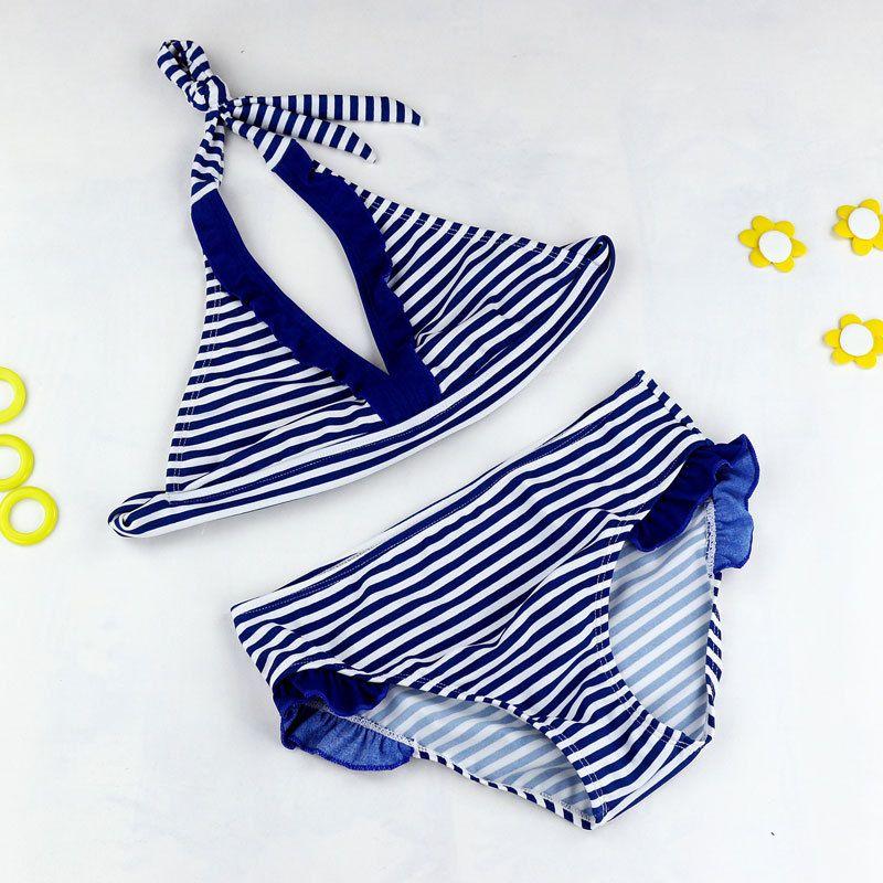 2018 neue Sommer mädchen Split Zwei stücke Bademode mädchen Eng Anliegende Dünne Hohe Elastische Striped Badeanzug, kinder Streifen Bikini