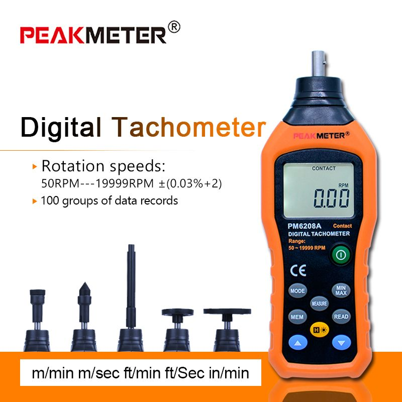 Free shipping HYELEC MS6208A contact digital tachometer multi-functional measure High Performance 50-19999RPM max