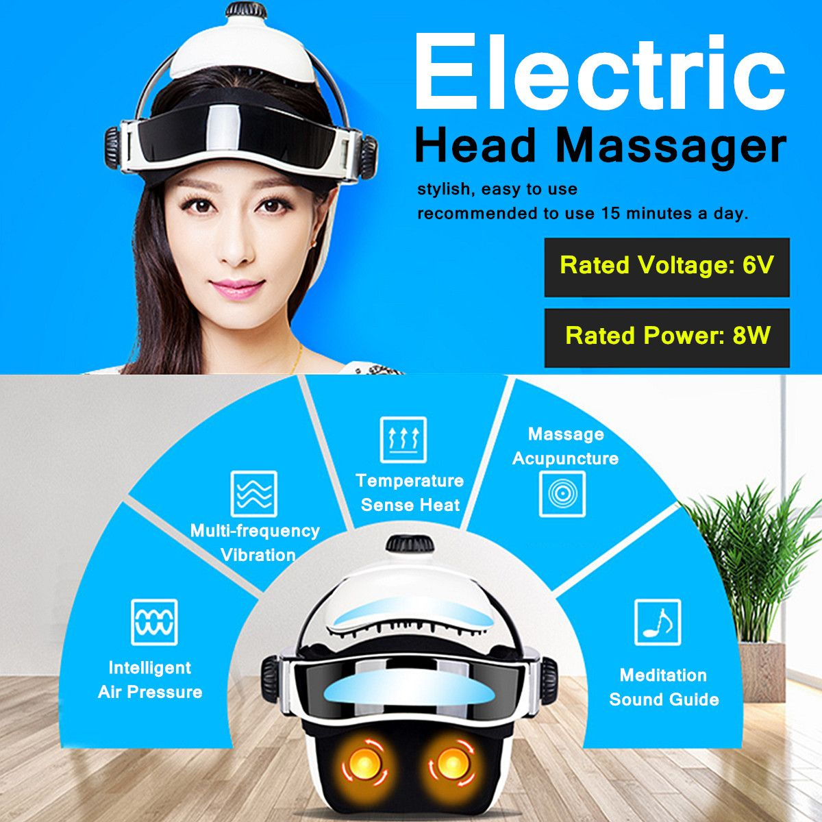 6V 8W 100-240V 50/60Hz Electric Head Massager Infrared Pressure Relax Acupuncture Music Massage Helmet ABS+ Rubber + Sponge