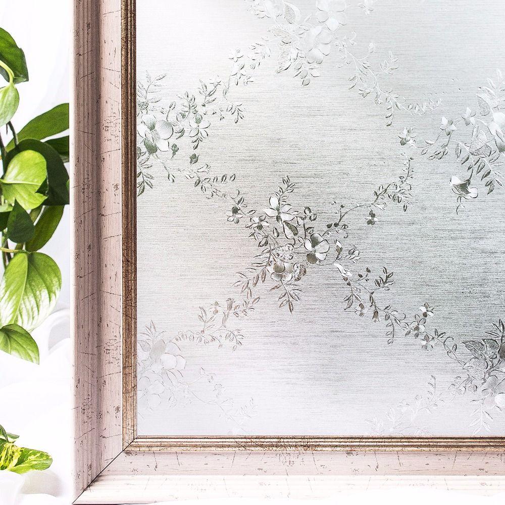 CottonColors fleur décoration fenêtre teinte Film maison chambre PVC verre autocollant sans colle 3D statique intimité taille 60x200 cm