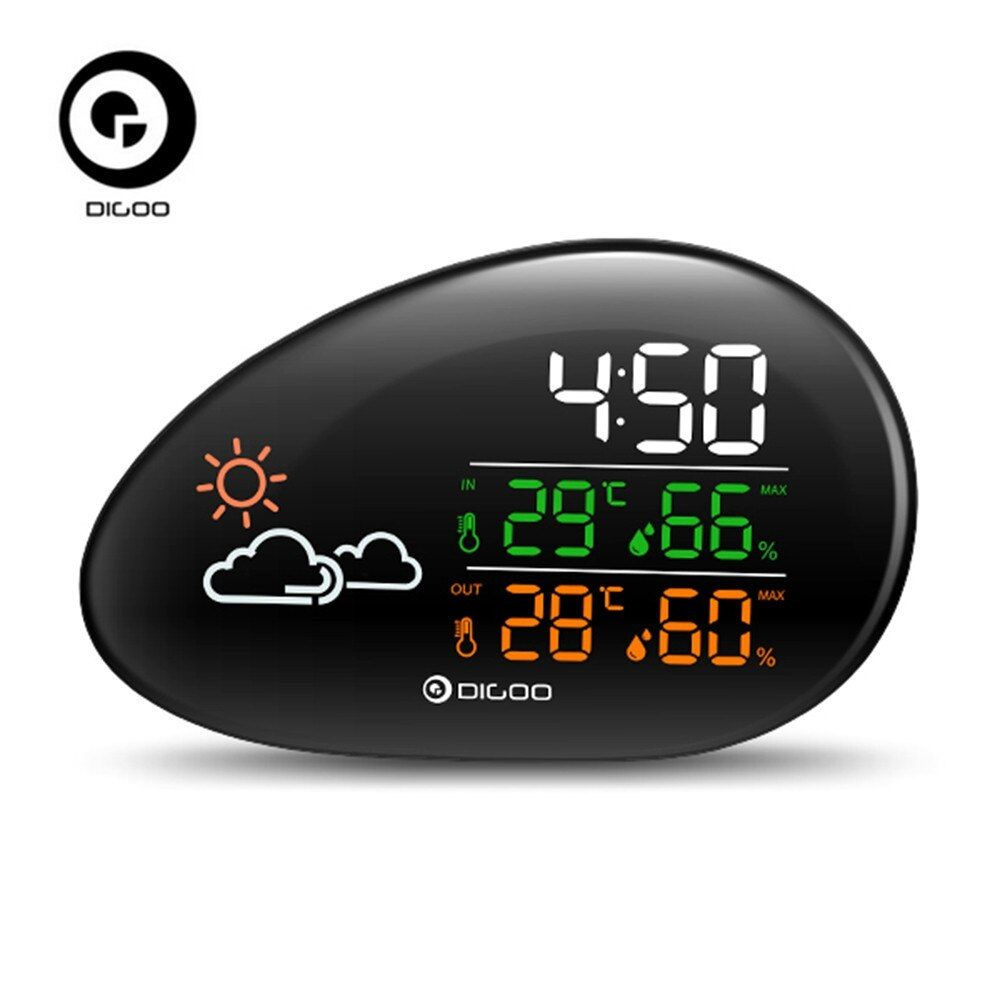 DIGOO DG-THS01 Stone Clock Weather Station Weather Forecast Thermometer Hygrometer Temperature Humidity Clock Snooze Function