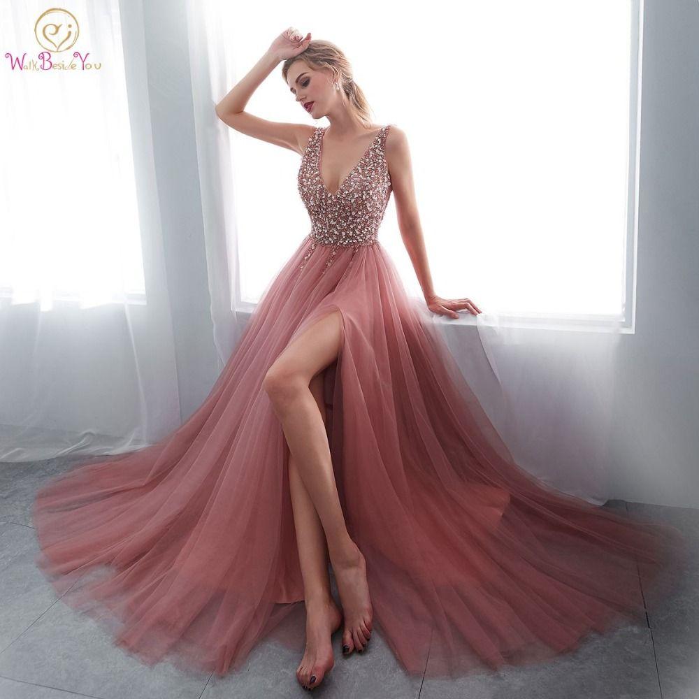 Perles robes De bal 2019 col en V rose haute Split Tulle balayage Train sans manches robe De soirée a-ligne à lacets dos nu robe De