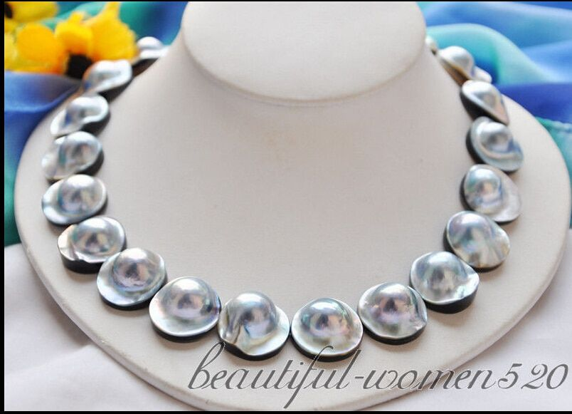 00046 gray south sea mabe pearl NECKLACE AAA