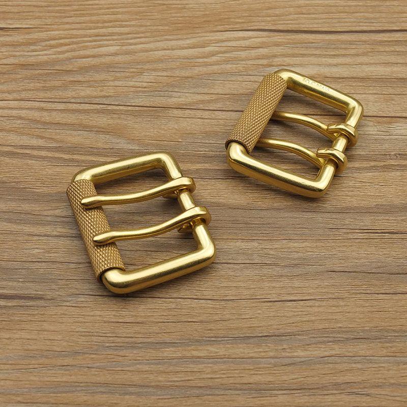 Bricolage johnsimilicuir artisanat matériel Double broches en laiton massif rouleau ceinture boucle BOR finition #903474-B38