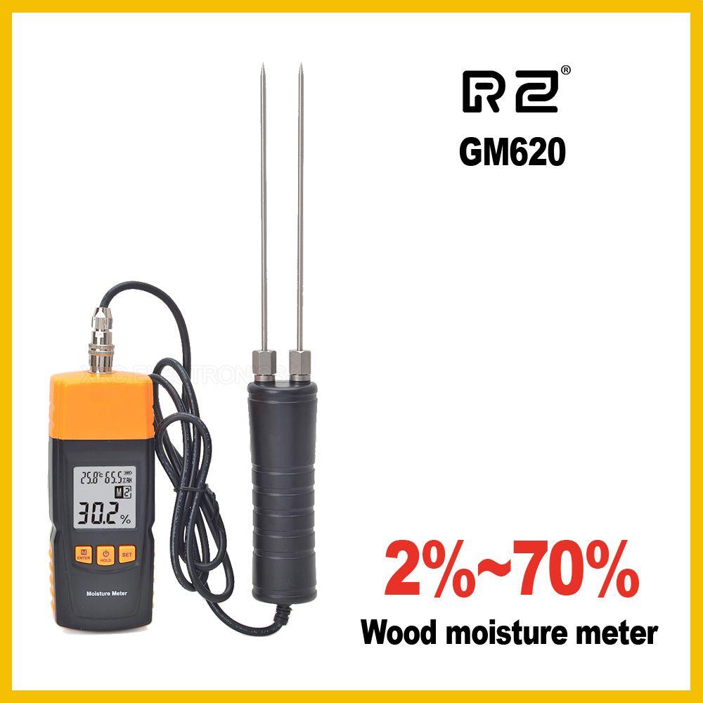 RZ GM620 Wood Moisture Meter Adjustable for 4 tree species temperature Grain
