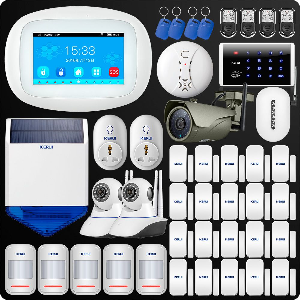 KERUI K52 4.3 Inch TFT Color Screen Wireless Security WIFI GSM Alarm System APP Control Keypad Outdoor Camera Singal Reapter