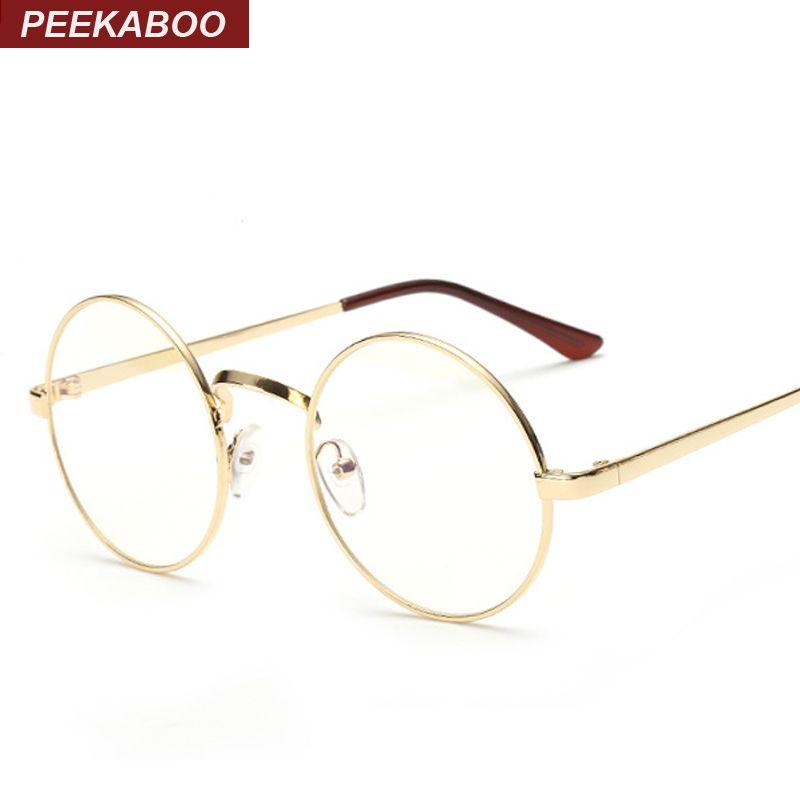 Peekaboo Günstige kleine runde nerd brille klare linse unisex gold runde metall glasrahmen optische männer frauen schwarz uv