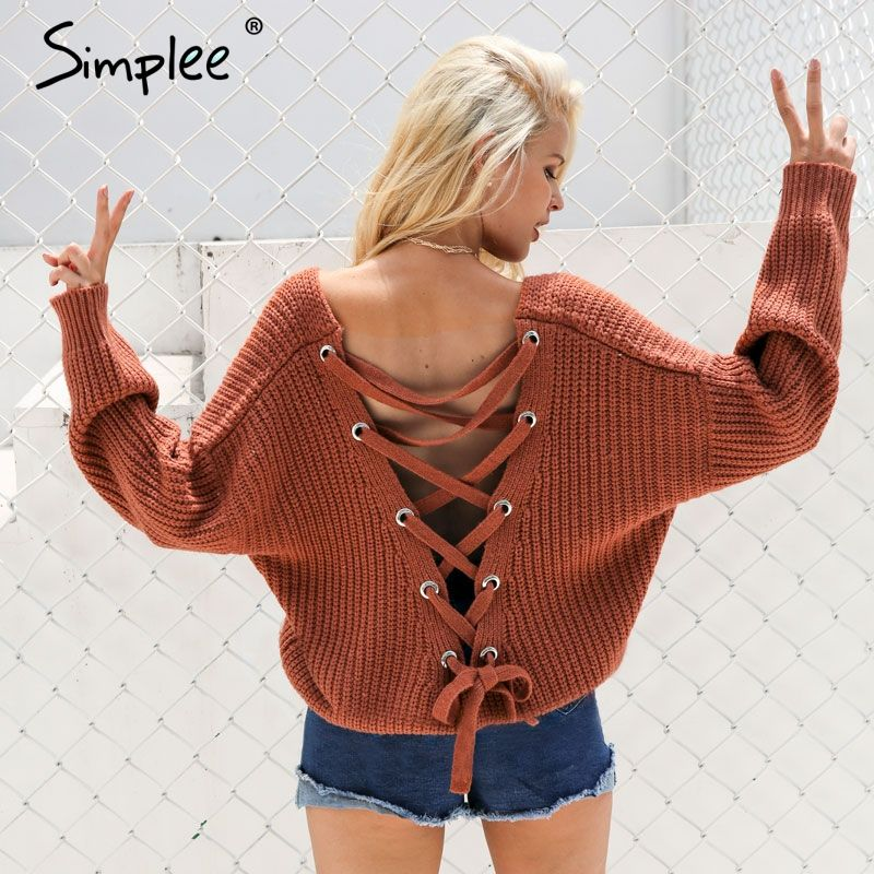 Simplee Sexy backless knitting pullover Fashion lace up autumn <font><b>winter</b></font> sweater women tops Casual hollow out jumper pull femme