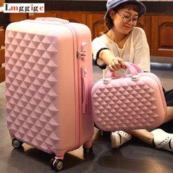ABS чемодан на колесиках с усиленным корпусом набор с сумочкой, Женский чехол для чемодана с косметичкой, 20