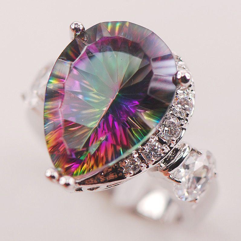 Радуга Белый Мистик кристалл Циркон 925 пробы серебро женщина кольцо Размеры 6 7 8 9 10 F617 оптовая продажа ювелирных изделий Бесплатная доставка