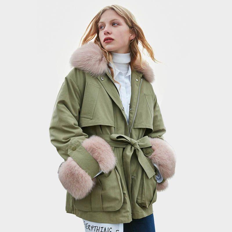 Winter Jacke Frauen Echt Pelz 2018 Marke Weibliche Gans Unten Parkas Echt Fuchs Pelz Unten Parka Weibliche Winter Mantel Frauen schnee Outwear
