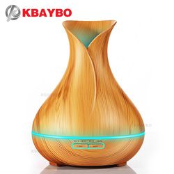 400 ml Aroma Huile Essentielle Diffuseur À Ultrasons Humidificateur D'air avec Bois Grain 7 Changement de Couleur LED Lumières pour Home Office