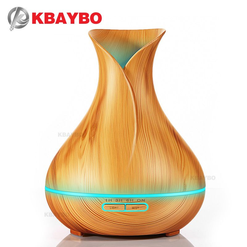 400ml Aroma Essential Oil Diffuser Ultrasonic Air Humidifier with Wood Grain 7 Color <font><b>Changing</b></font> LED Lights for Office Home