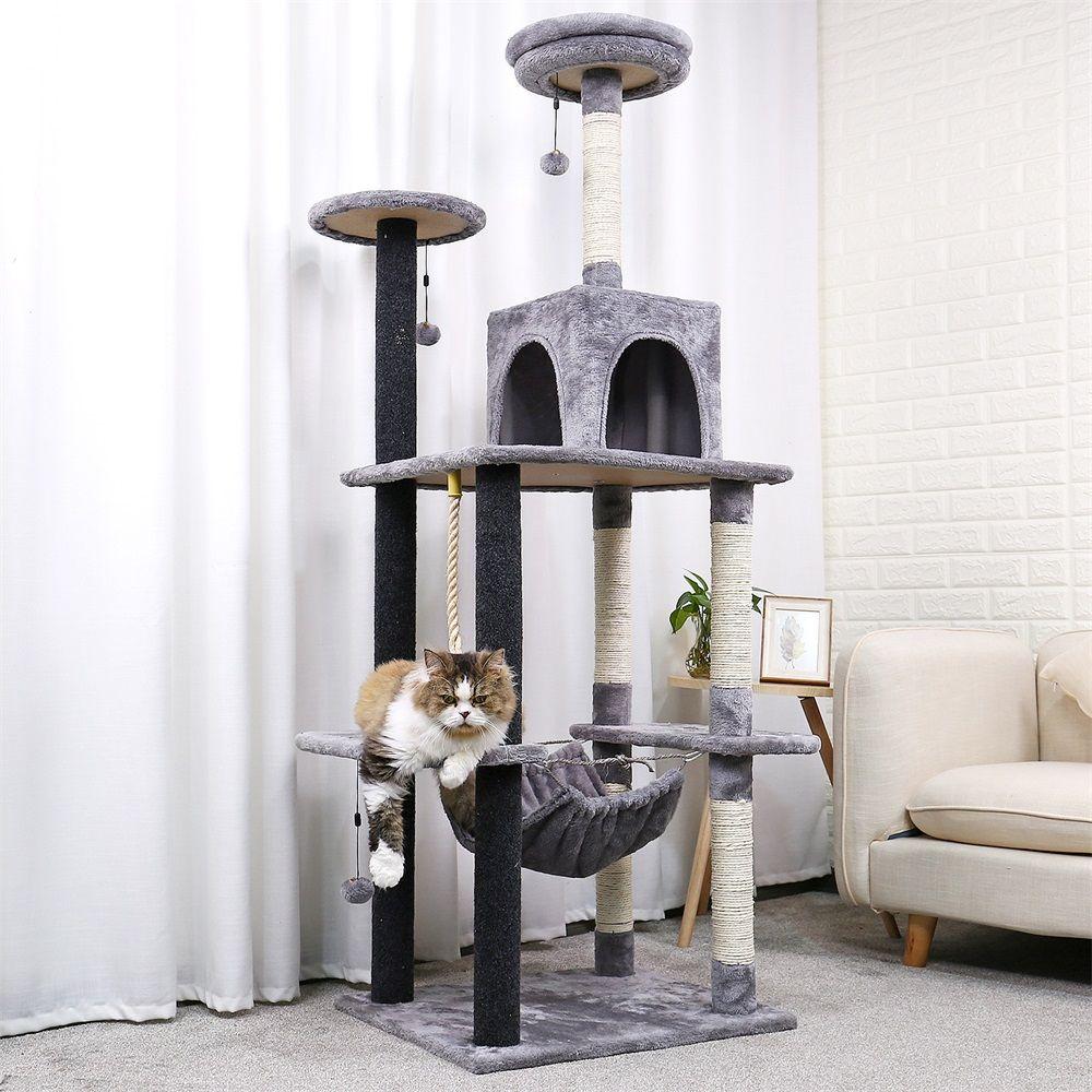 178CM chat de luxe griffoir grand cadre d'escalade pour chat KitternToys maison multi-fonctionnelle chat arbre conseil Condo meubles