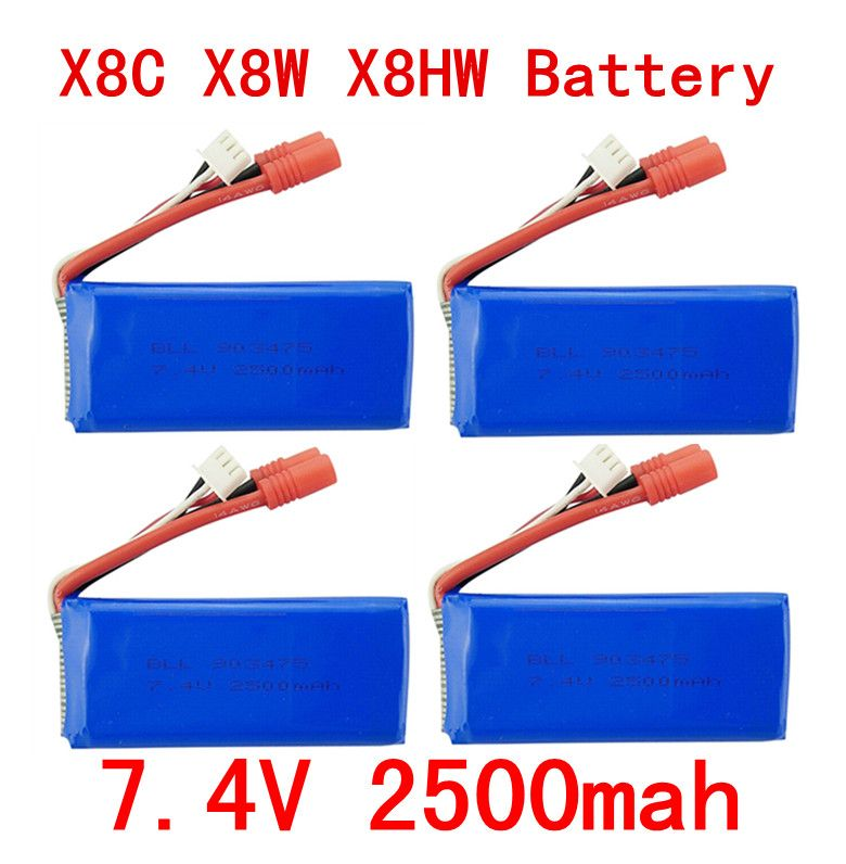 4PCS New big battery Syma X8C X8W X8G X8HC X8HG X8HW 2S 7.4V 2500mAh 25C Lipo Battery Helicopter Battery