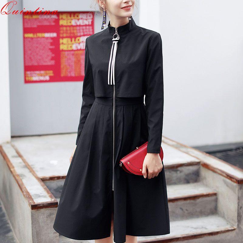 Qunitina 2017 New Fashion Windbreaker Female Autumn Long Style Zipper Mandarin collar Ruffles Trench Casual Coats For Women