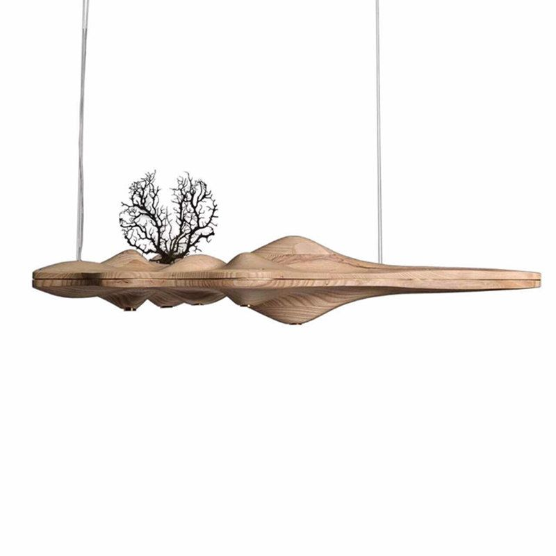 KINLAMS Creative UFO Wood LED Chandelier Lamp Chinese Japanese Nordic Modern LED chandeliers Retro Branch Lamp for livingroom