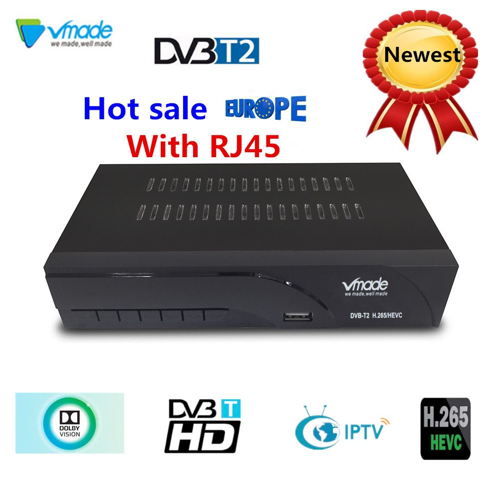 Vmade Newest DVB-T2 digital TV receiver supports H.265 WIFI YouTube dvb-t2 Receiver hot sale Europe DVB-T Terrestrial receiver