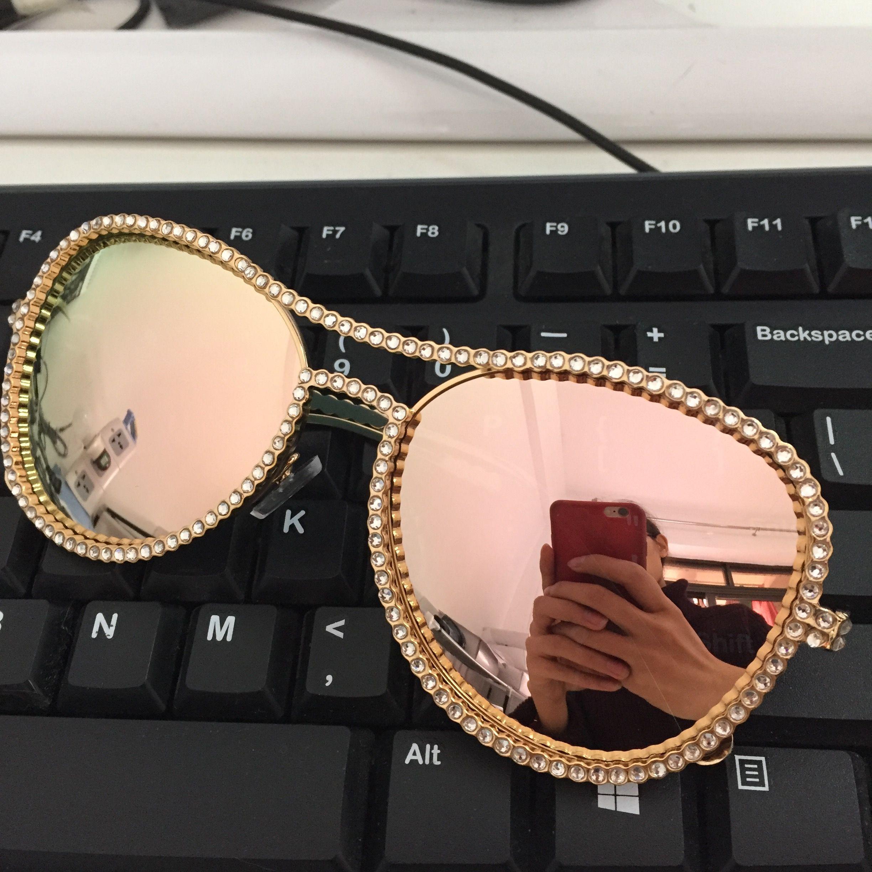 HBK Pilote lunettes de Soleil Femmes Décoratif Strass Marque Designer Cadre De Cuivre HD objectif Clair Double Pont Lunettes de Soleil