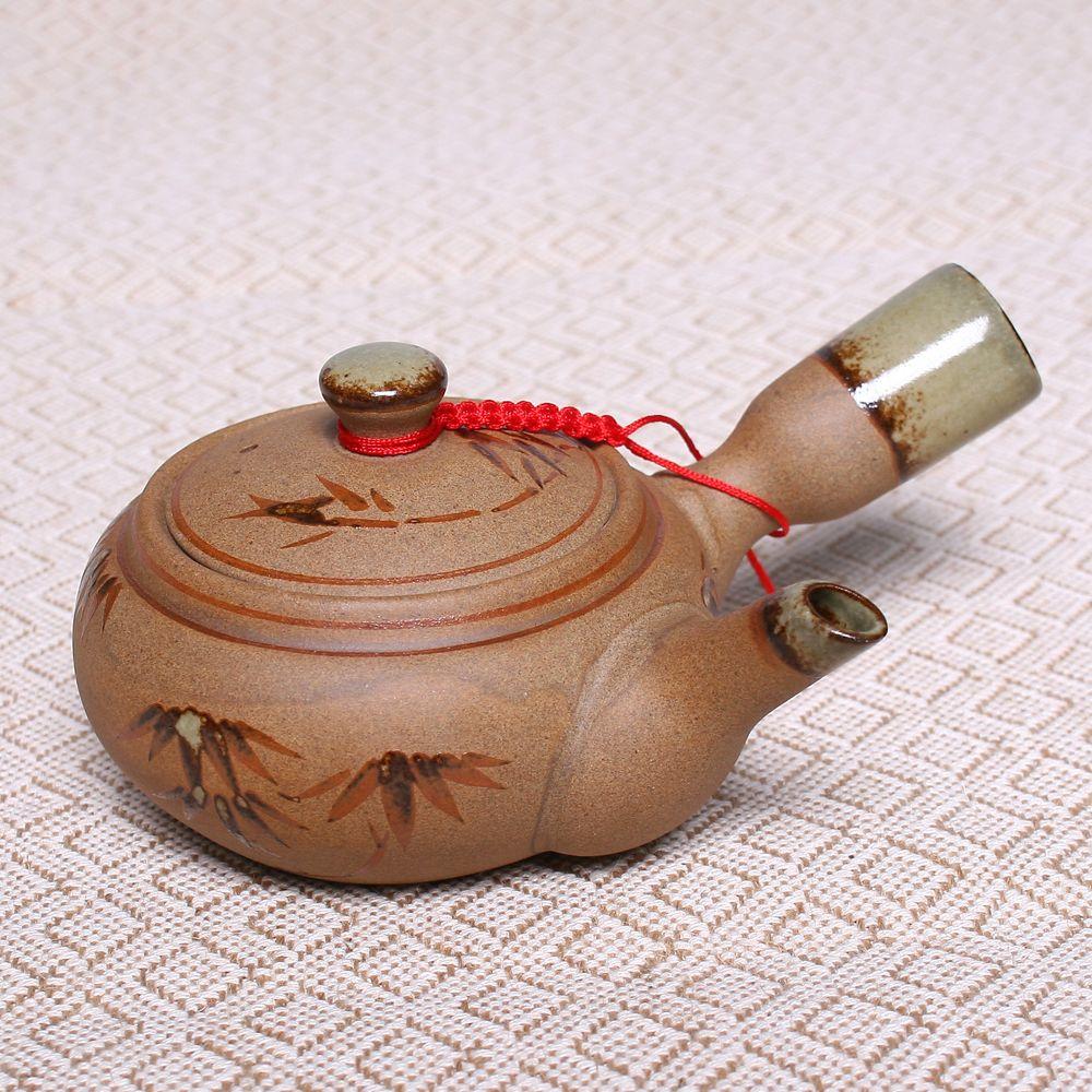 250 ML Chine Bambou Motif Poterie Théière Gongfu Thé Bambou À La Main Peinture Infuser Bouilloire En Céramique Théière En Argile Ensemble Porcelaine