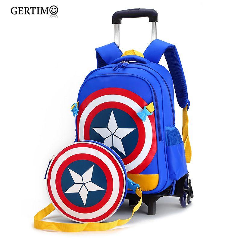 Nouveaux sacs de chariot d'école primaire Captain America enfants Anime sac à dos cartable enfant avec roues; sacs d'école avec chariot