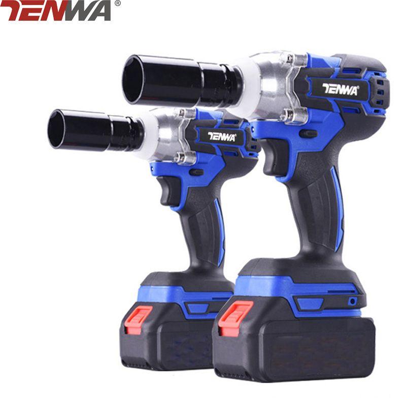 TENWA 18V 4000mAh Brushless/ Cordless Electric Wrench Impact Socket Wrench Li Battery Hand Drill Installation Power Tools