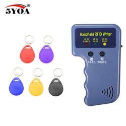 Handheld 125KHz EM4100 RFID Copier Writer Duplicator Programmer Reader + 5 Pcs EM4305 T5577 Rewritable ID Keyfobs Tags Card