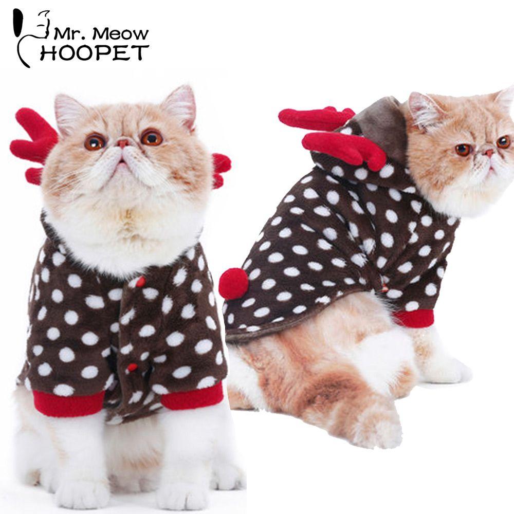 Hoopet Pet chien chat vêtements chat noël à capuche chaud costume chien cerf robe chat hiver manteau mignon veste