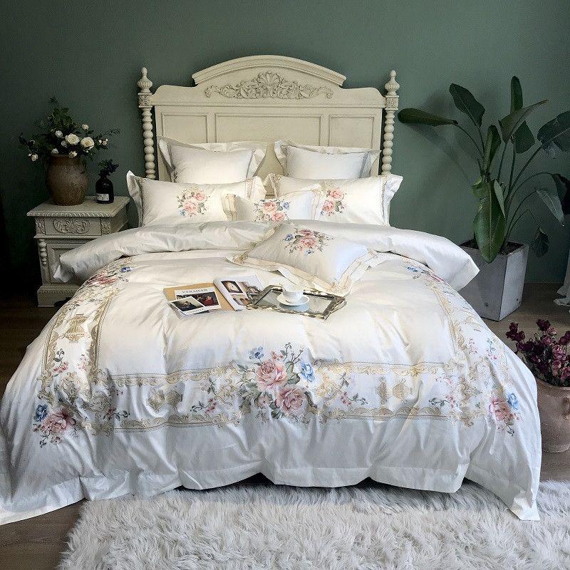 Weiß blau Luxus Blumen Pastoralen Stickerei 100 S Ägyptischer Baumwolle Palast Bettwäsche Set Bettdecke Abdeckung bettlaken/Leinen Kissenbezüge