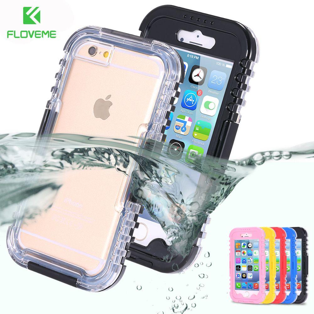 FLOVEME IP-68 Híbrido de Servicio Pesado Resistente Al Agua Natación Buceo Caso Para Apple iPhone 6 6 S Plus 5S SÍ Agua/Dirt/A Prueba de Choques Teléfono bolsa