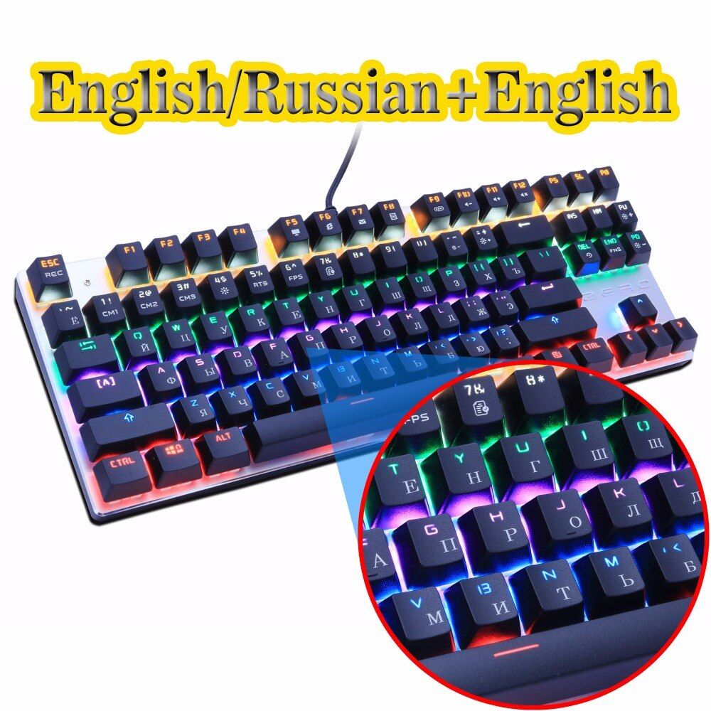Zero Gaming Mechanical Keyboard Anti-ghosting 87/104 LED Backlit Red Black Blue <font><b>switch</b></font> Wired USB Russian sticker for PC laptop