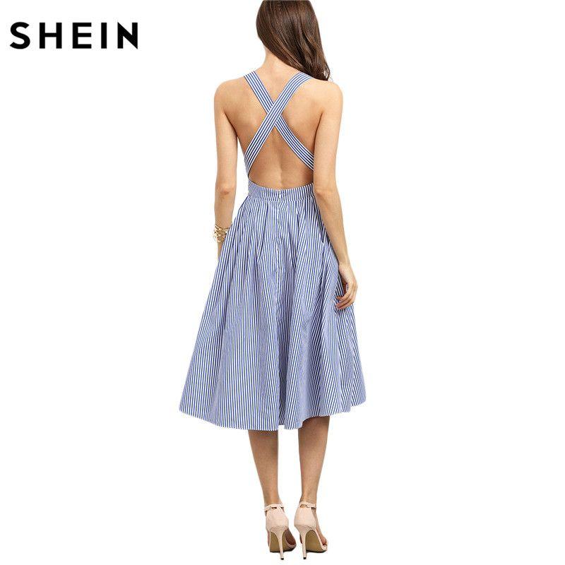 SHEIN Women New Arrival Sexy Midi Dresses 2016 Summer <font><b>Blue</b></font> Striped Square Neck Sleeveless Crisscross Back A Line Dress