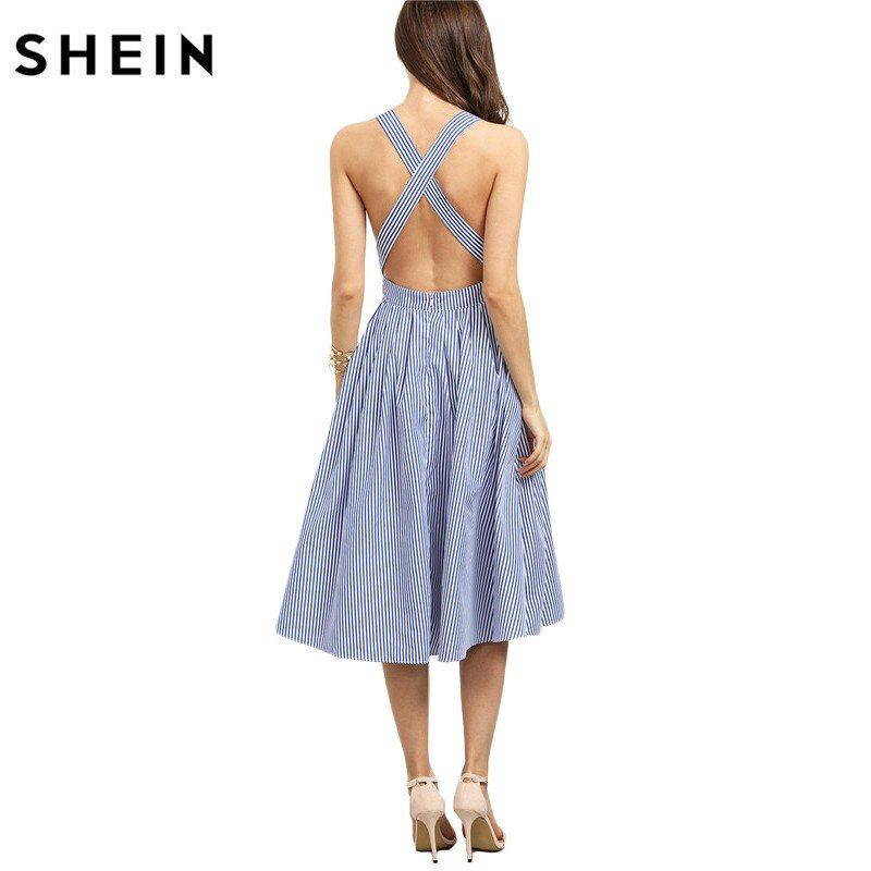 SHEIN Women New <font><b>Arrival</b></font> Sexy Midi Dresses 2016 Summer Blue Striped Square Neck Sleeveless Crisscross Back A Line Dress