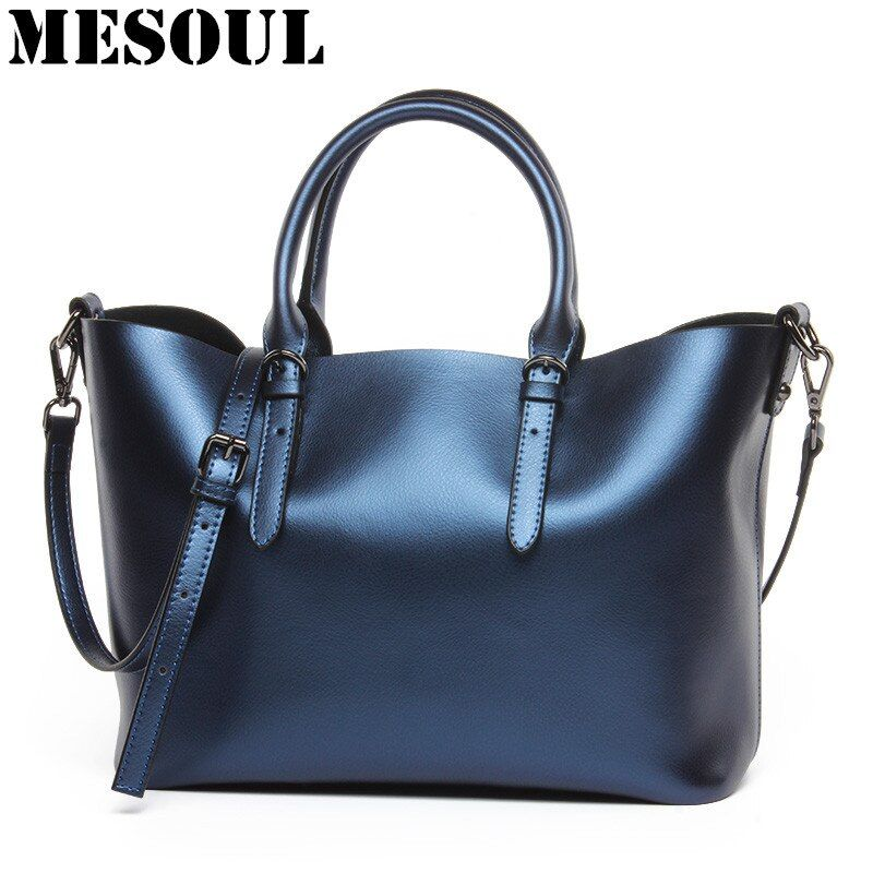 Luxury Design Women's Genuine Leather Casual Tote Purse Fashion Shoulder Handbag Ladies Blue Large Capacity Shopping Bag Bolsos