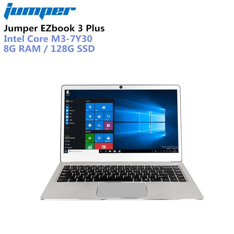 Jumper EZbook 3 Plus Laptop 14.0'' 1080P 8GB ROM 128GB Windows 10 Home Intel Core m3-7Y30 Dual WiFi Notebook Computer Metal Case