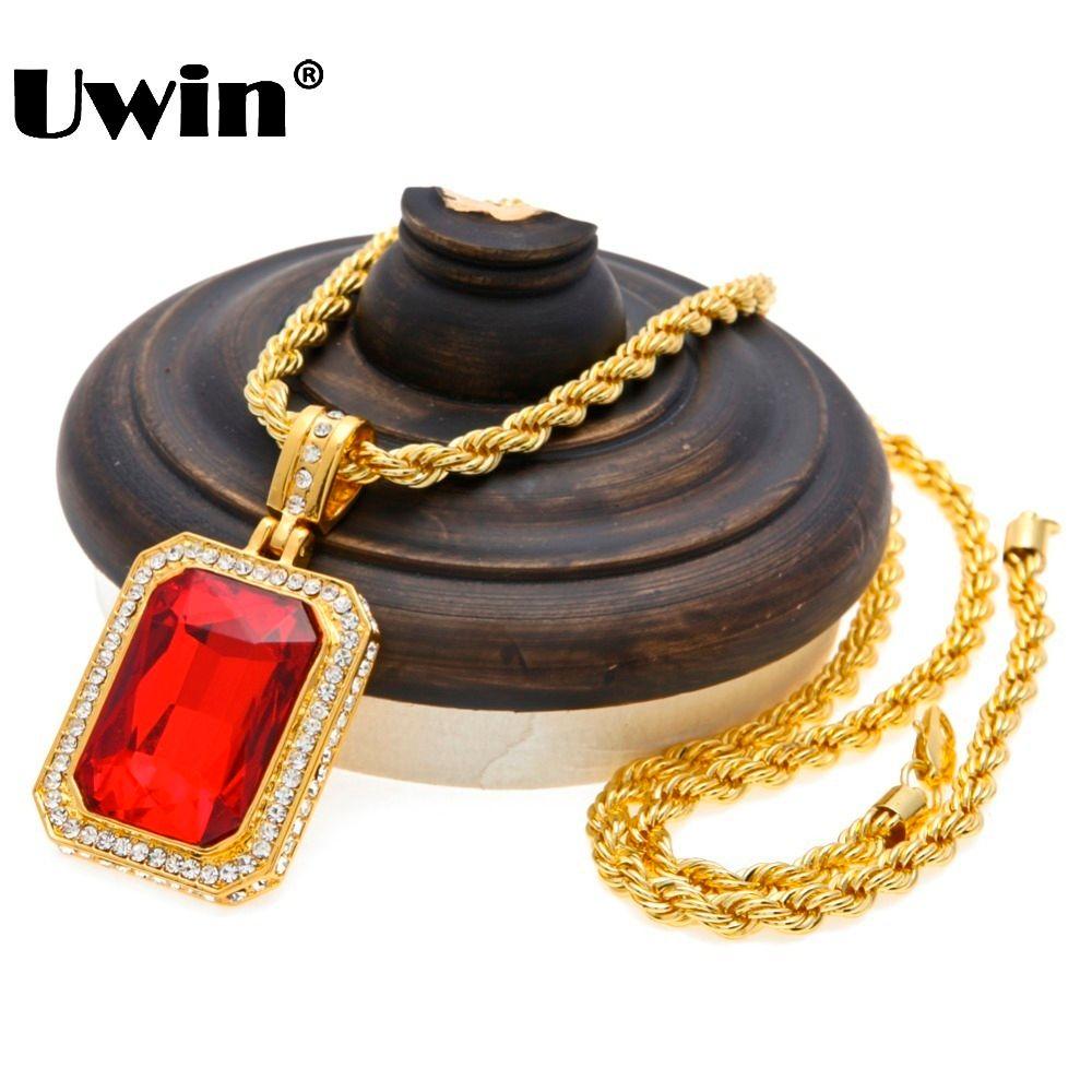 Hommes à la mode glacé Out Hip Hop pendentif collier bijoux couleur or rouge grand carré pierre pendentif avec corde épaisse chaîne collier