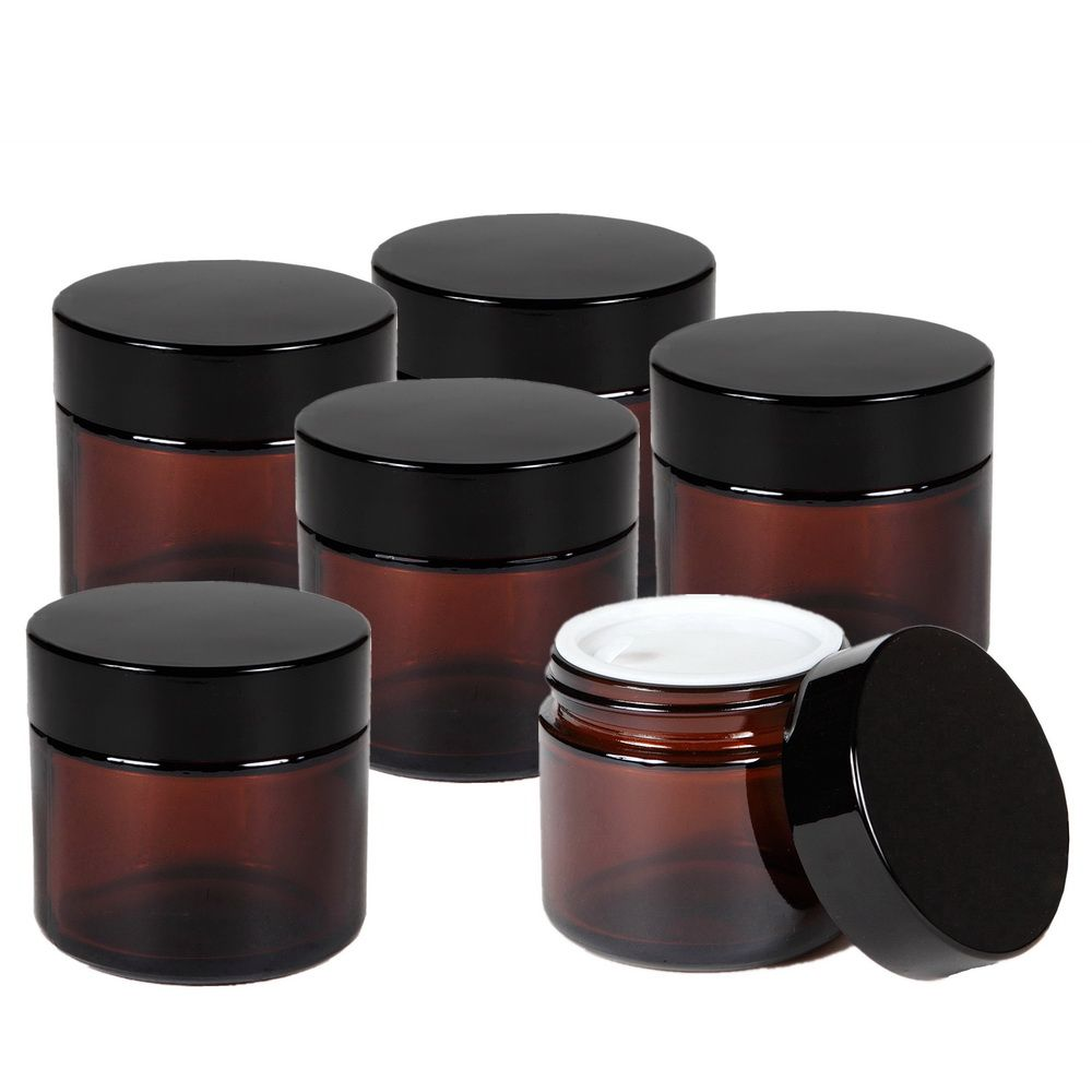 6 X 50g Round Amber Glass Jar Straight Sided Cream Jars w/ black plastic lid cap inner liner for Salve Homemade lotion cosmetics
