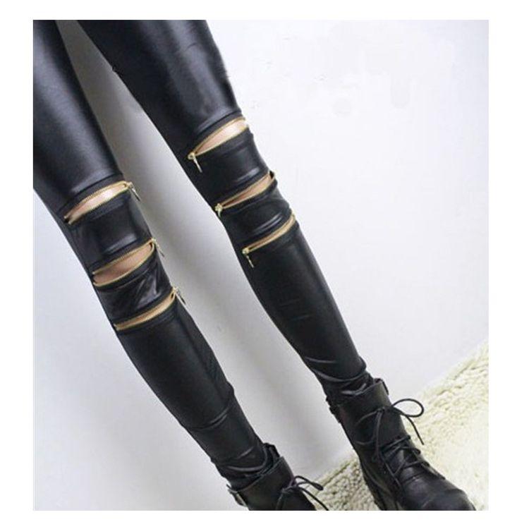 Femmes Leggings avec trois fermetures à glissière patchwork leggins punk rock pantalon Maigre pantalon noir fittness nouveau style