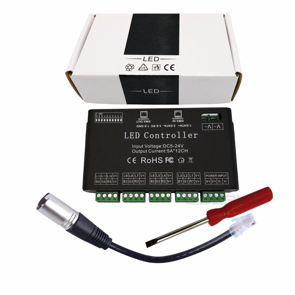 Easy Use 12 channel dmx512 PWM RGB decoder 60A DMX dimmer driver input DC5-24V for LED strip DMX Controller 60A