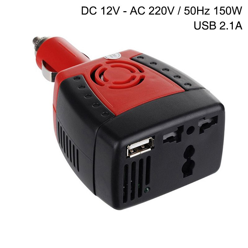 Car Inverter Power Supply 150w DC 12V to AC 220V 50Hz Converter Transformer Laptop Notebook Phone Charger Universal USB 2.1A