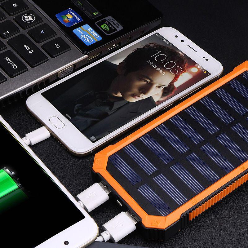 ET batterie portable solaire 20000 mAh double USB charge étanche Powerbank batterie externe panneau solaire chargeur de téléphone lumière LED