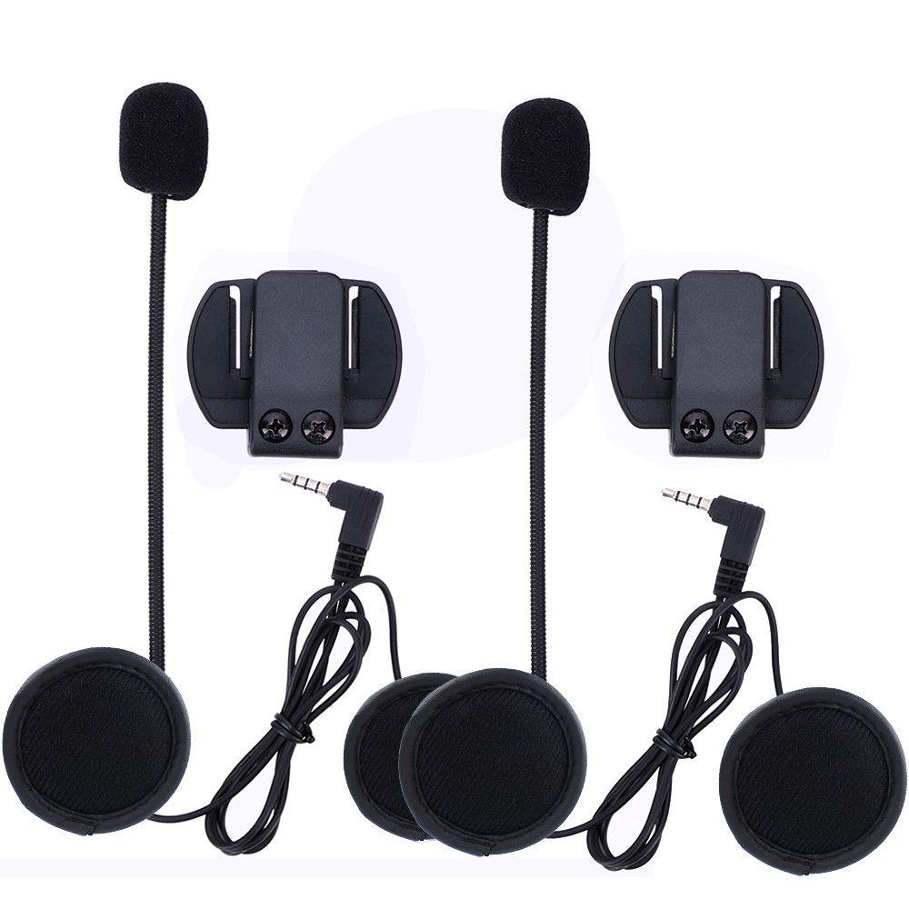 2 pcs 3.5mm V6 Accessories Earphone Speaker Microphone & Clip only Suit for V6 V4 Motorcycle Helmet Bluetooth Intercom