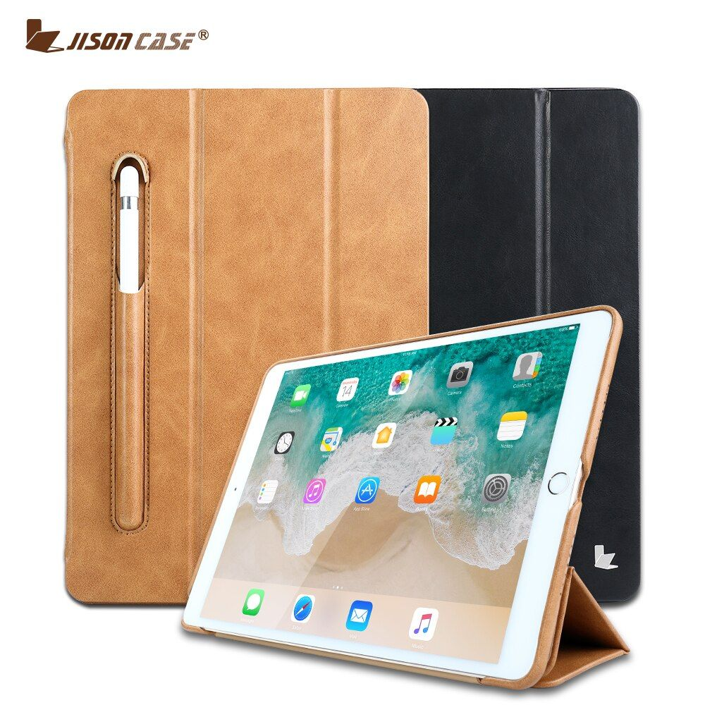 Jisoncase Leather Smart Cover for <font><b>iPad</b></font> Pro 10.5 Luxury Flip Folio Tablet Case with Pencil Slot for <font><b>iPad</b></font> 10.5 inch 2017 Released
