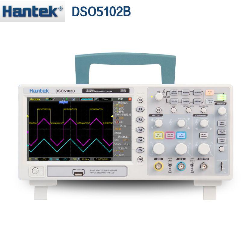 Hantek DSO5102B Digital speicher oszilloskop 2CH 100 MHz Tisch Scopemeter 1 mt Speicher tiefe 1GSa/s Probe Rate besser than5102P