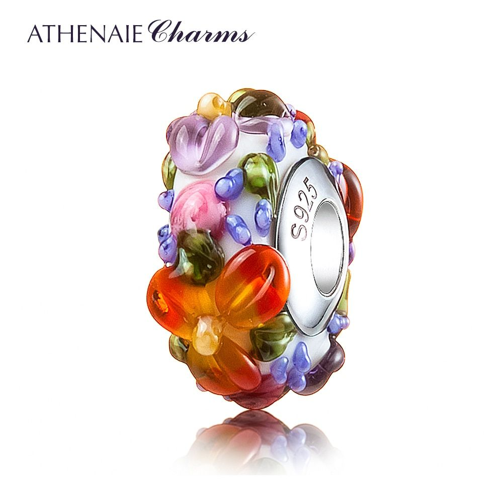ATHENAIE Murano Glass 925 Silver Core Hawaiian Maui Floral Lei Charm Bead Fit <font><b>Pandora</b></font> Bracelet and Necklace Fashion DIY Jewelry