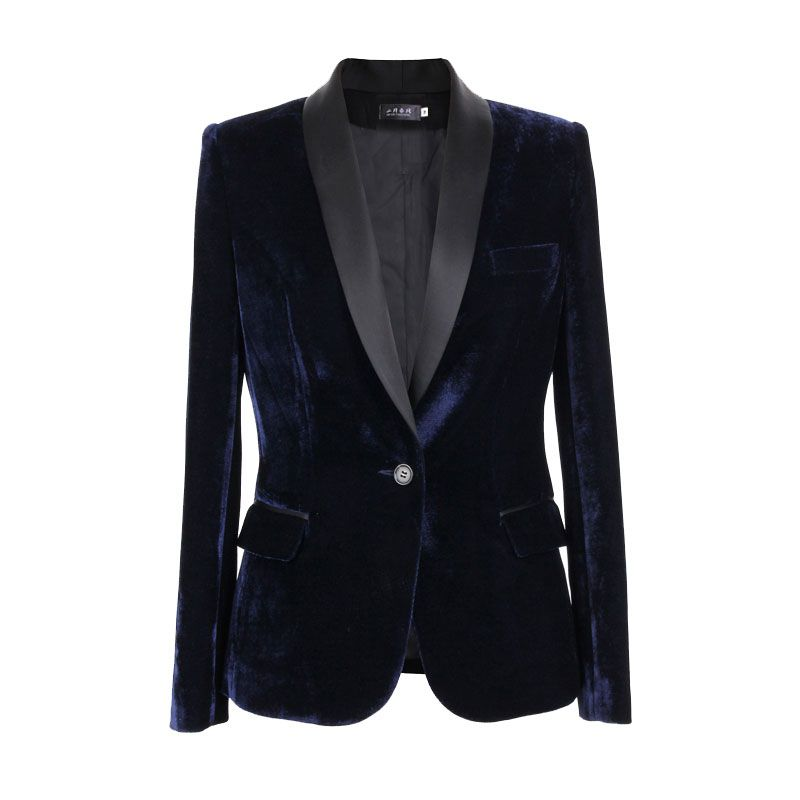 Haute qualité noir de velours de mode veste de costume occasionnel femelle 2017 nouveau printemps et automne court paragraphe or de velours