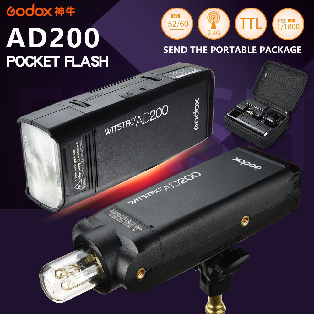 2017 NEW Godox AD200 Photography Strobe Speedlite Pocket Flash light 200W with TTL Lithium battery for Sony Canon Nikon Cameras